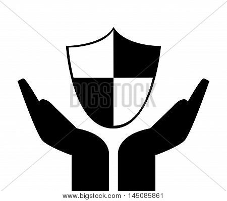 flat design sheltering hands and shield icon vector illustration