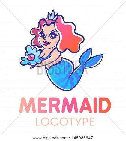 Cute cartoon chubby smiling mermaid with long red curly hair holding pearl in an open shell logotype.Curvy happy water nymph illustration.Child style kind undine logo. Water fairy showing marine gift.