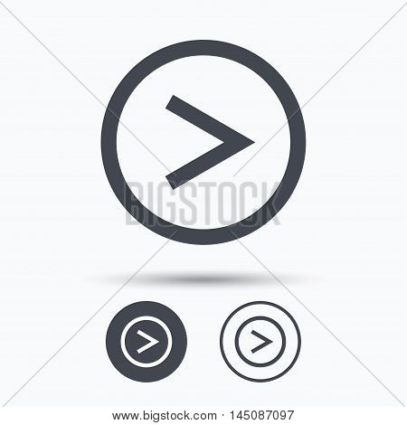 Arrow icon. Next navigation symbol. Circle buttons with flat web icon on white background. Vector