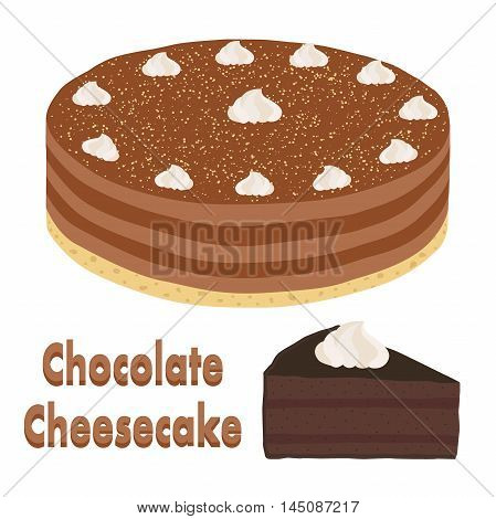 Set of whole chocolate pie and slice of cheesecake. Cacao, coffee or chocolate cake in flat cartoon style. Vector illustration.