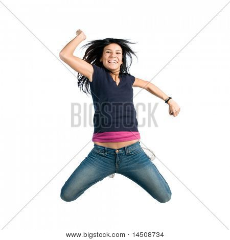 Happy joyful latin young girl jumping isolated on white background