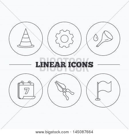 Flag, traffic cone and oil change icons. Pliers linear sign. Flat cogwheel and calendar symbols. Linear icons in circle buttons. Vector