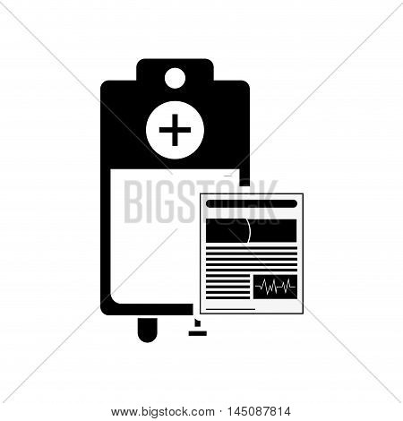 flat design medical history and iv drip bag icon vector illustration
