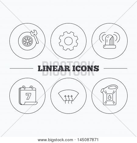 Siren alarm, tire service and jerrycan icons. Heated window linear sign. Flat cogwheel and calendar symbols. Linear icons in circle buttons. Vector