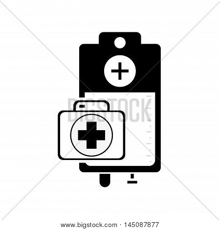 flat design iv drip bag and first aid kit icon vector illustration