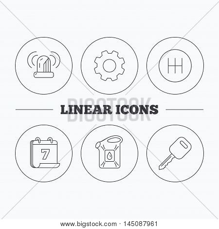 Manual gearbox, jerrycan and car key icons. Siren alarm, fuel jerrycan linear signs. Flat cogwheel and calendar symbols. Linear icons in circle buttons. Vector