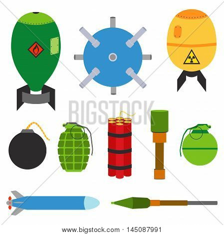 Explosive set of dangerous bombs. Nuclear bomb, air bomb, missile, tnt, dynamite, grenade, bomb, stick grenade, landmine, hand grenade, marine mine. Made in flat style.
