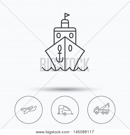 Transportation icons. Cruise, airplane and van linear signs. Evacuator flat line icon. Linear icons in circle buttons. Flat web symbols. Vector