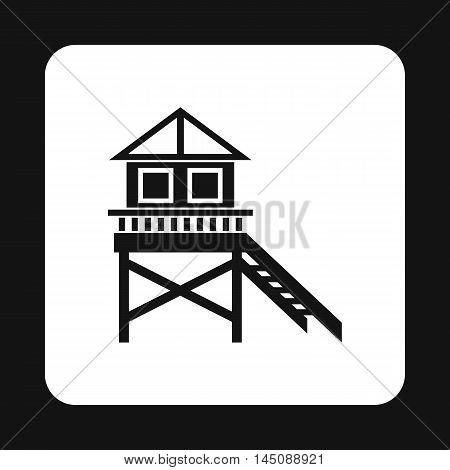 Rescue booth on beach icon in simple style isolated on white background. Observation symbol