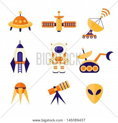 Space Icons Set in flat style. Cosmos exploration elements, vector collection