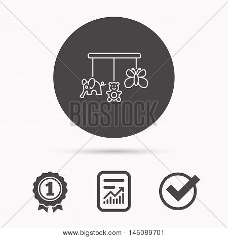 Baby toys icon. Butterfly, elephant and bear sign. Entertainment for newborn symbol. Report document, winner award and tick. Round circle button with icon. Vector