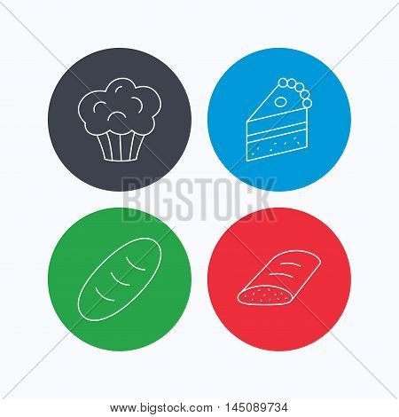 Sweet muffin, cake and bread icons. Piece of cake linear sign. Linear icons on colored buttons. Flat web symbols. Vector