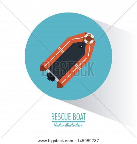 rescue boat nautical marine sea ocean transportation icon. Colorful and circle design. Vector illustration
