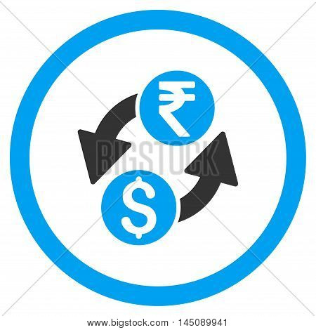 Dollar Rupee Exchange rounded icon. Glyph illustration style is flat iconic bicolor symbol, blue and gray colors, white background.