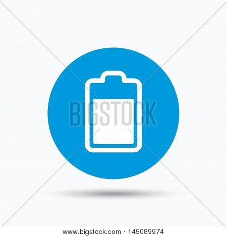 Battery power icon. Charging accumulator symbol. Blue circle button with flat web icon. Vector