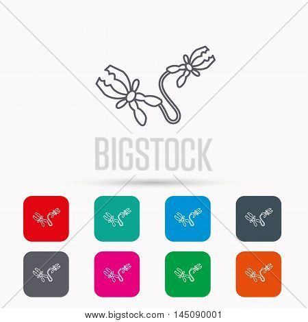 Terminal electrical clips icon. Charging the battery sign. Linear icons in squares on white background. Flat web symbols. Vector