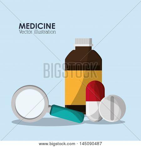 medicine lupe medical health care hospital icon. Colorful design. Vector illustration