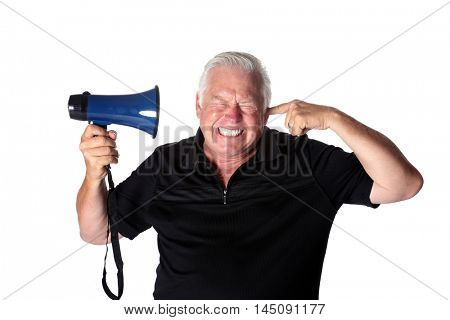 A man with a Megaphone. isolated on white. room for text