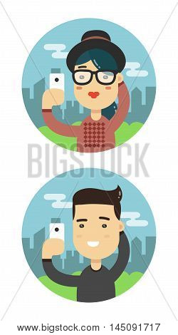 Selfie shot man and woman flat illustration. Vector taking a selfie people set