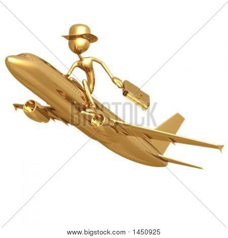 Businessman Flying On A Golden Jet Plane