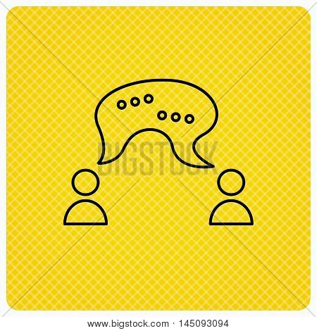 Chat icon. Comment message sign. Dialog speech bubble symbol. Linear icon on orange background. Vector