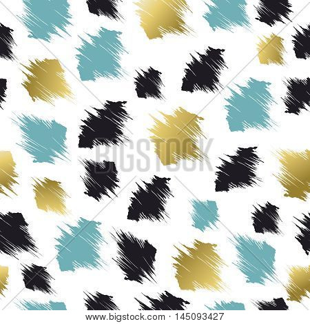 Pattern With Abstract Shapes In Gold And Blue