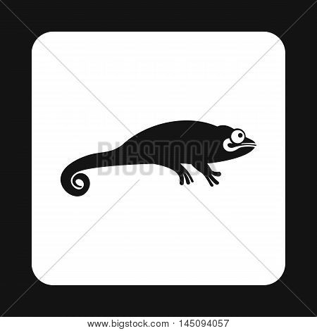 Black chameleon icon in simple style isolated on white background. Reptiles symbol