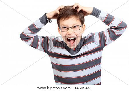 Educational theme: portrait of a shouting schoolboy. Isolated over white background.