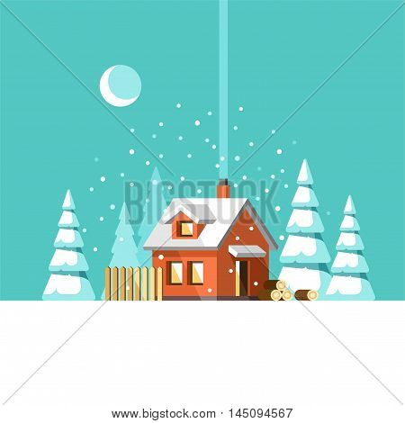 Winter house. Christmas and Happy New Year greeting card. Vector illustration.