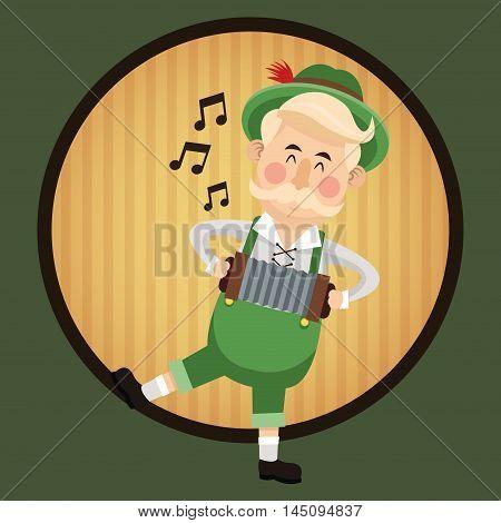 man male cartoon accordion music seal stamp striped oktoberfest festival icon. Colorful design. Vector illustration