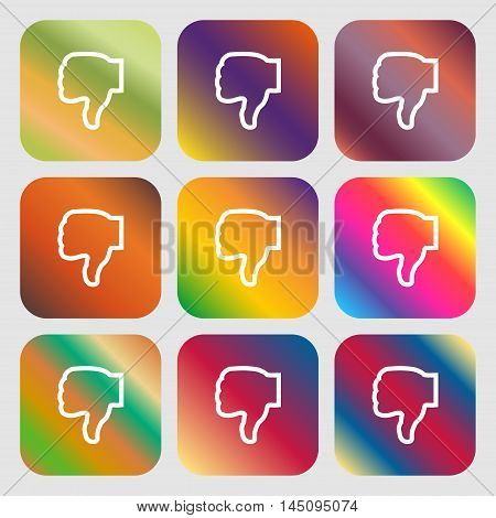 Dislike Icon. Nine Buttons With Bright Gradients For Beautiful Design. Vector