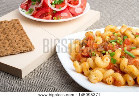 Cavatappi Pasta With Sauce Of Stewed Vegetables