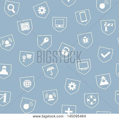 Safety, seamless pattern, gray-blue light. Vector monochrome background with images of protection and security of people, information and gadgets. White icons on gray-blue background.