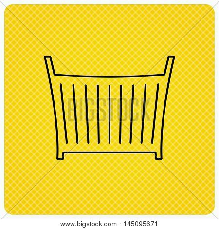 Baby crib bed icon. Child cradle sign. Newborn sleeping cot symbol. Linear icon on orange background. Vector