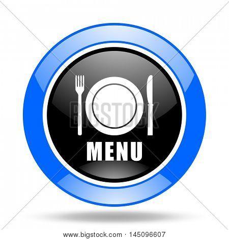 menu round glossy blue and black web icon