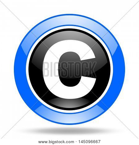 copyright round glossy blue and black web icon