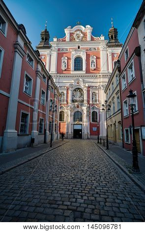 Baroque facade of the parish church in Poznan