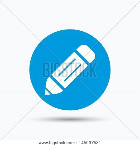 Edit icon. Pencil for drawing symbol. Blue circle button with flat web icon. Vector