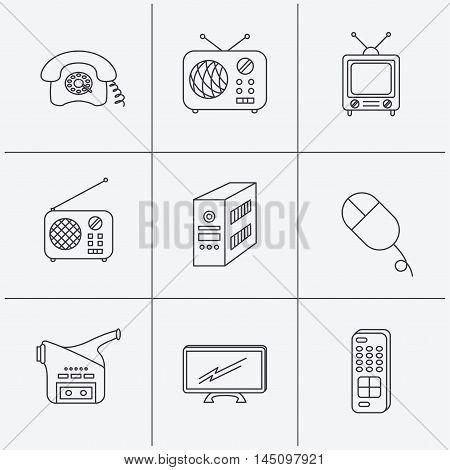 Radio, TV remote and video camera icons. Retro phone, PC case and mouse linear signs. Linear icons on white background. Vector