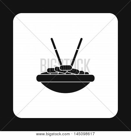 Bowl of rice with chopsticks icon in simple style isolated on white background. Food and utensils symbol