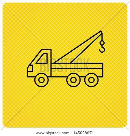Evacuator icon. Evacuate parking transport sign. Linear icon on orange background. Vector