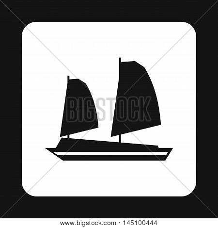 Vietnamese junk boat icon in simple style isolated on white background. Shipbuilding symbol