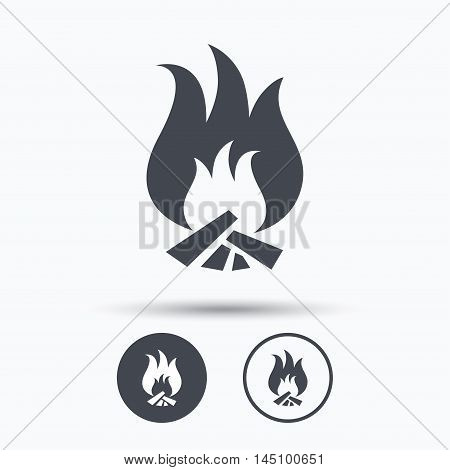 Fire icon. Blazing bonfire flame symbol. Circle buttons with flat web icon on white background. Vector