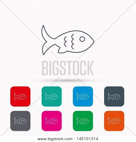 Fish with fin and scales icon. Seafood sign. Vegetarian food symbol. Linear icons in squares on white background. Flat web symbols. Vector