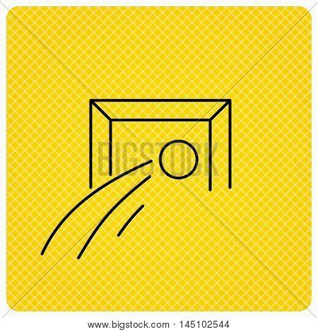 Football goalkeeper icon. Soccer sport sign. Team goal game symbol. Linear icon on orange background. Vector