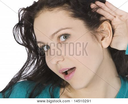 Bright Picture Of Young Brunette Listening Gossip