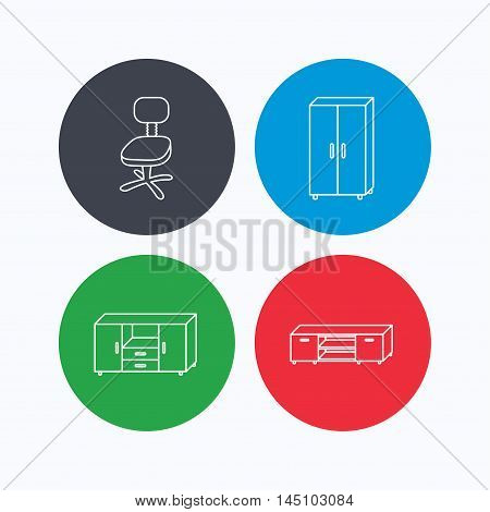 Cupboard, TV table and office chair icons. Chest of drawers linear sign. Linear icons on colored buttons. Flat web symbols. Vector