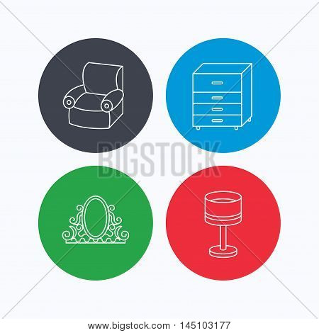Vintage mirror, table lamp and armchair icons. Chest of drawers linear sign. Linear icons on colored buttons. Flat web symbols. Vector