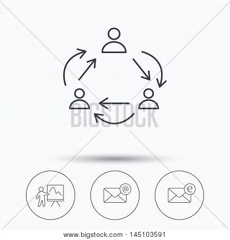 Teamwork, presentation and e-mail icons. E-mail inbox linear sign. Linear icons in circle buttons. Flat web symbols. Vector