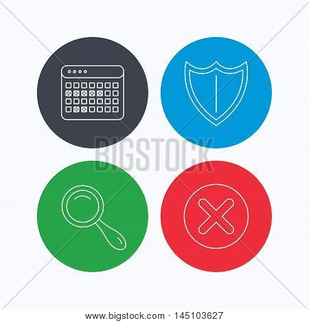 Calendar, magnifying glass and delete icons. Shield linear sign. Linear icons on colored buttons. Flat web symbols. Vector